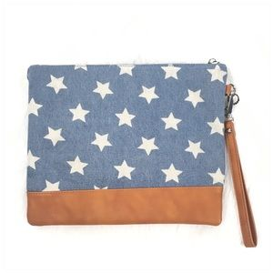 Imoshion Star Denim Large Wristlet Clutch